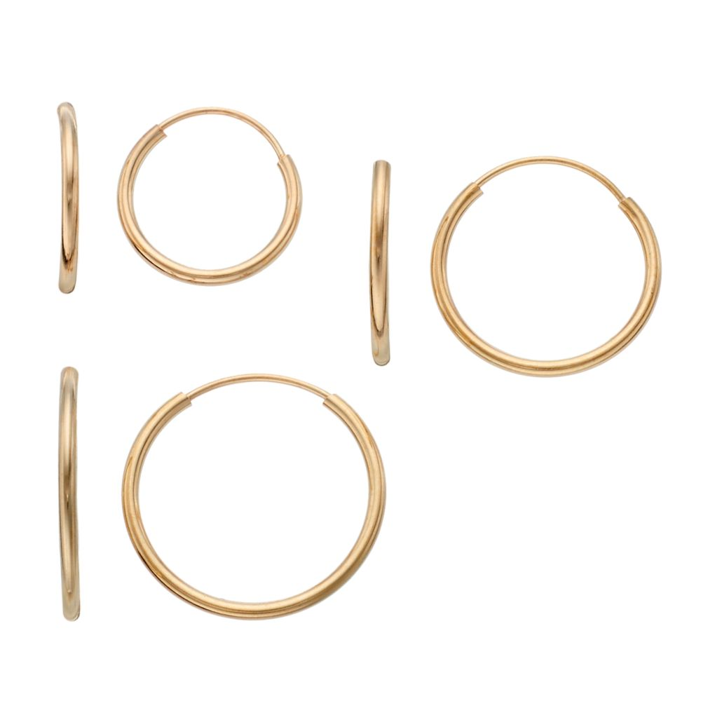 Taylor Grace 10k Gold Endless Hoop Earring Set