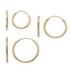 Taylor Grace 10k Gold Endless Hoop Earring Set