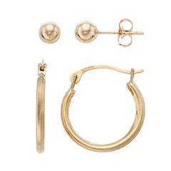 Taylor Grace 10k Gold Hoop & Ball Stud Earring Set