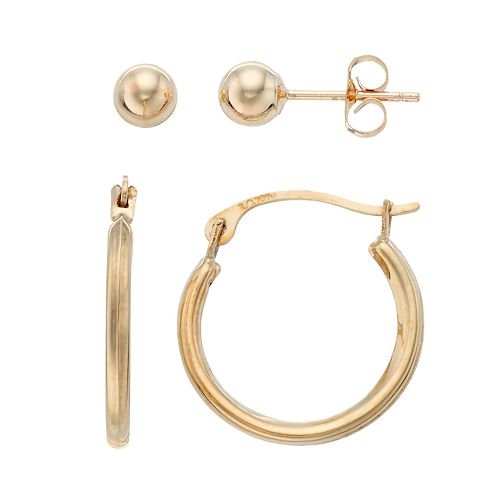 Taylor Grace 10k Gold Hoop & Ball Stud Earring Set