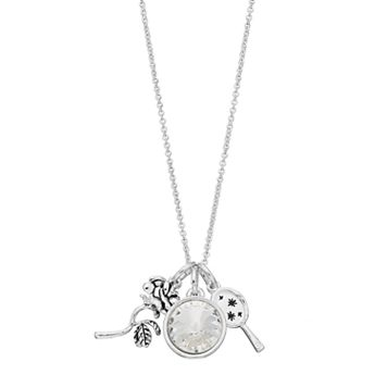 Disney's Beauty and the Beast Silver Plated Rose & Mirror Charm Necklace