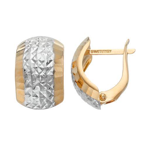 Forever 14K Two Tone Textured Semi-Hoop Earrings