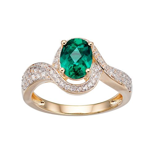 14k Gold Over Silver Lab-Created Emerald & White Sapphire Halo Ring