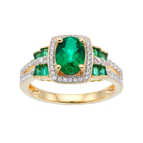 14k Gold Over Silver Simulated Emerald & Lab-Created White Sapphire Halo Ring