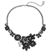 Dana Buchman Black Asymmetrical Flower Statement Necklace