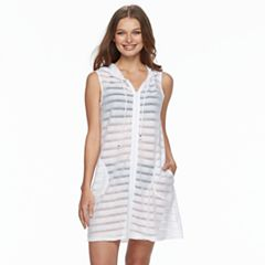 Women's Apt. 9® Shadow Stripe Hooded Swim Cover-Up