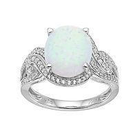 Sterling Silver Lab-Created White Opal & White Sapphire Twist Ring