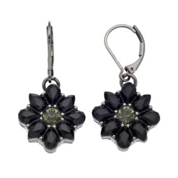 Dana Buchman Black Flower Drop Earrings