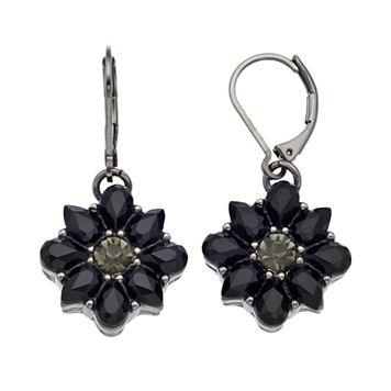Dana Buchman Black Flower Drop Earrings