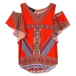 Girls 7-16 IZ Amy Byer Cold Shoulder Flutter Top with Necklace