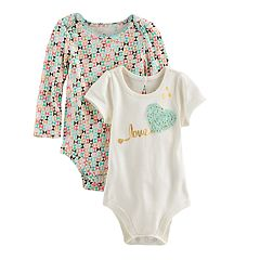 Baby Girl Baby Starters 2 pkGeometric Print & 'Love' Graphic Bodysuits