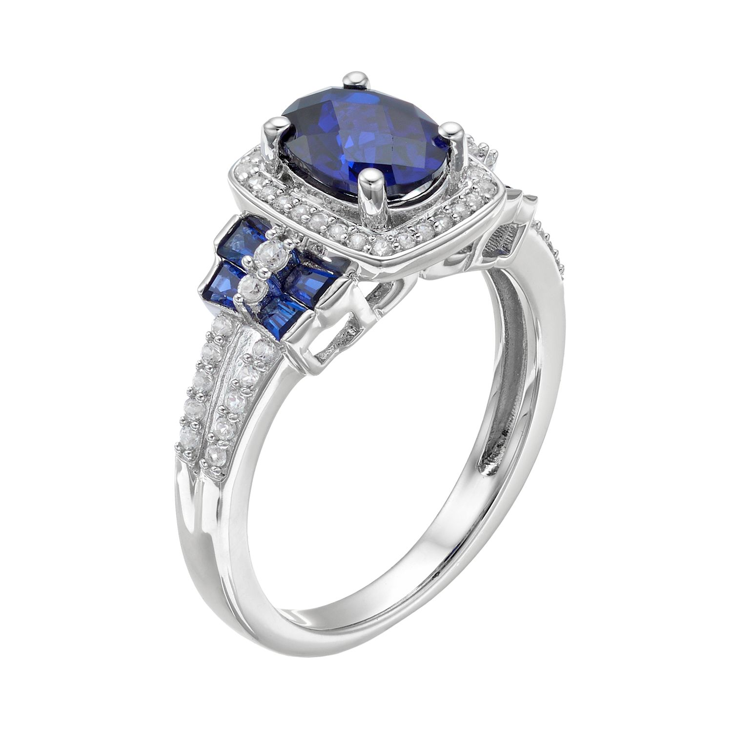 diamonds centre side pin stone either royal asprey sold blue with cut rings oval
