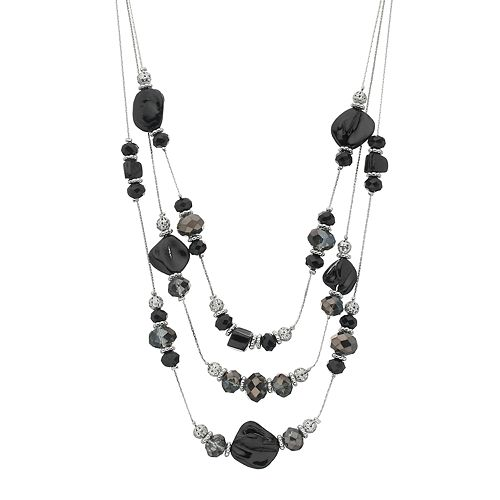 Faceted Bead Multi Strand Necklace