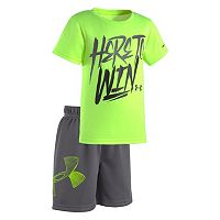 Toddler Boy Under Armour Text Graphic Tee & Shorts Set