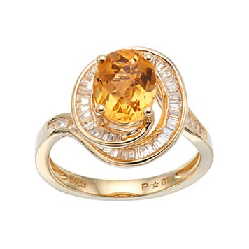 14k Gold Over Silver Citrine & Lab-Created White Sapphire Twist Ring