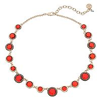 Dana Buchman Red Round Stone Station Necklace
