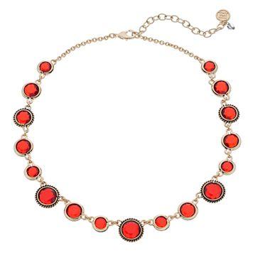 Dana Buchman Red Round Stone Station Necklace