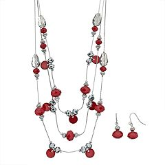 Faceted Bead Multi Strand Necklace and Earrings Set