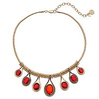 Dana Buchman Red Oval Stone Teardrop Statement Necklace