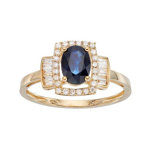 10k Gold 1/4 ct. T.W. Diamond & Sapphire Ring