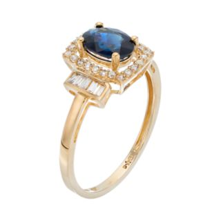 10k Gold 1/4 ct. T.W. Diamond and Sapphire Ring