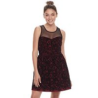 Juniors' Trixxi Illusion Yoke Flocked Skater Dress