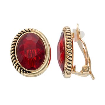 Dana Buchman Red Oval Nickel Free Clip On Earrings