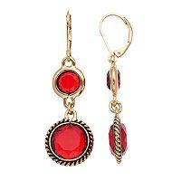 Dana Buchman Red Round Double Drop Earrings