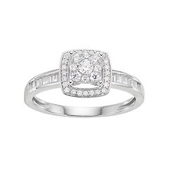 Lovemark 10k White Gold 3/8 ctT.W. Diamond Square Halo Engagement Ring