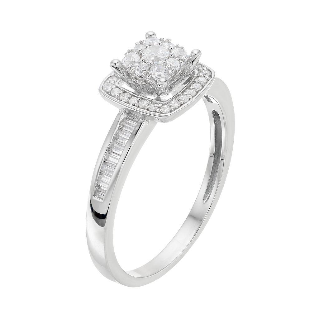 Lovemark 10k White Gold 3/8 ct. T.W. Diamond Square Halo Engagement Ring