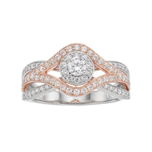 Two Tone 10k Gold 3 4 ct T W Diamond Cluster Engagement Ring