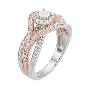 Lovemark Two Tone 10k Gold 3/4 ct. T.W. Diamond Cluster Engagement Ring