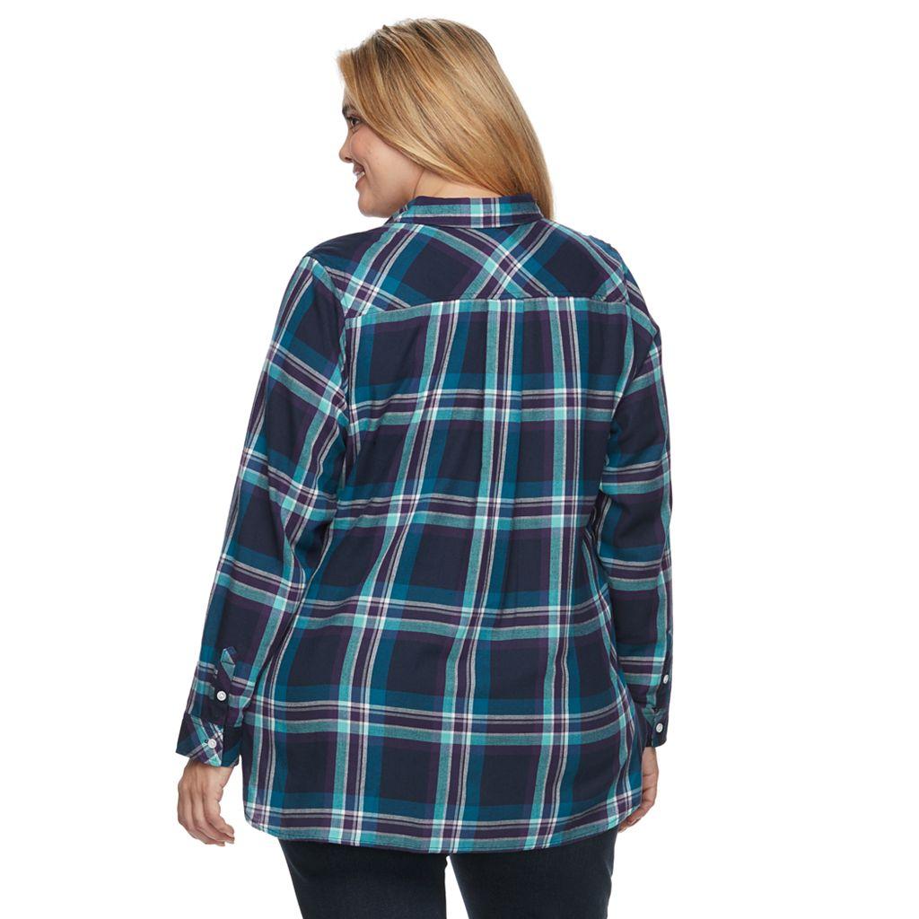 Plus Size Croft & Barrow® Plaid Popover Top