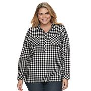 Plus Size Croft & Barrow® Plaid Popover Top