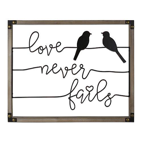 "Belle Maison ""Love Never Fails"" Birds Wall Decor"