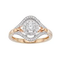 Lovemark 10k Gold 1/2 ctT.W. Halo Engagement Ring