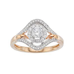 Lovemark 10k Gold 1/2 ct. T.W. Halo Engagement Ring