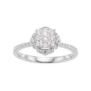 Lovemark 10k White Gold 1/2 ct. T.W. Diamond Cluster Engagement Ring
