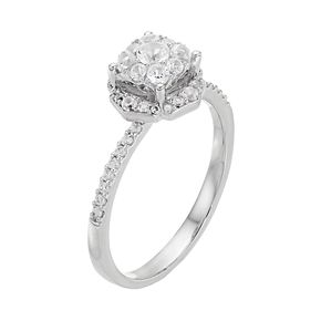 Lovemark 10k White Gold 1/2 ct. T.W. Diamond Cluster Engagement Ring