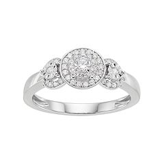 Lovemark 10k White Gold 1/4 ctT.W. Diamond Triple Halo Engagement Ring