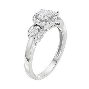 Lovemark 10k White Gold 1/4 ct. T.W. Diamond Triple Halo Engagement Ring