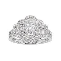 Lovemark 10k White Gold 3/4 ctT.W. Diamond Flower Engagement Ring