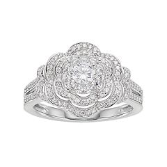 Lovemark 10k White Gold 3/4 ct. T.W. Diamond Flower Engagement Ring