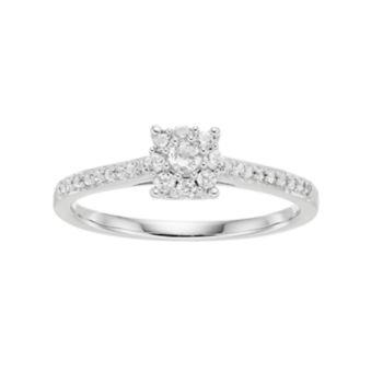 Lovemark 10k White Gold 1/4 ct. T.W. Diamond Cluster Engagement Ring
