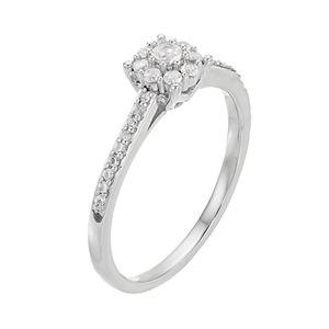 Lovemark 10k White Gold 1/4 ct. T.W. Diamond Cluster Engagement Ring