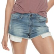 Juniors' SO® Frayed Shortie Jean Shorts