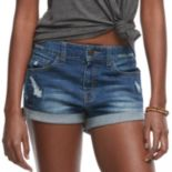 Juniors' SO® High Rise Cuffed Jean Shorts