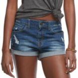 Juniors' SO® High Rise Cuffed Jean Shorts