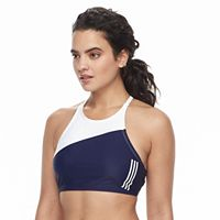 Women's adidas Colorblock High-Neck D-Cup Bikini Top