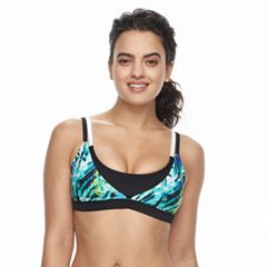 Women's adidas Electric Palm Layered D-Cup Bikini Top